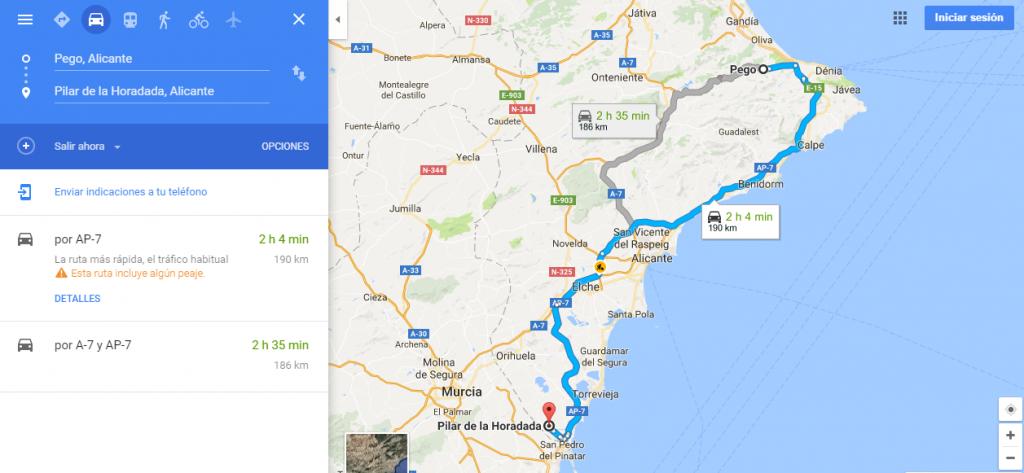 de-pego-alicante-a-pilar-de-la-horadada-alicante-google-maps
